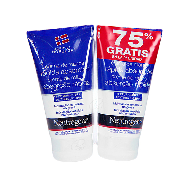 NEUTROGENA CREMA DE MANOS RAPIDA ABSORCION 2 X 75 ML