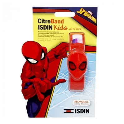 CITROBAND ISDIN KIDS + UV TESTER PULSERA CITRONELA ANTI MOSQUITOS SPIDERMAN